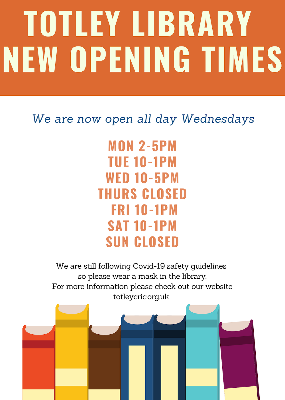 We are now open all day Wednesdays